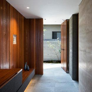 他の地域の片開きドアモダンスタイルのおしゃれな玄関ホール (マルチカラーの壁、木目調のドア、グレーの床) の写真