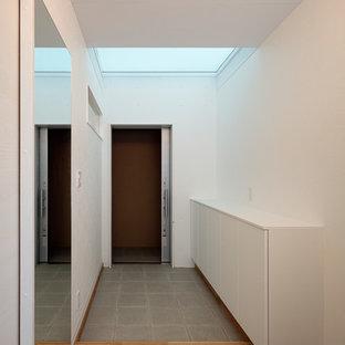 Modern inredning av en mellanstor hall, med vita väggar, klinkergolv i porslin, en skjutdörr, en grå dörr och grönt golv