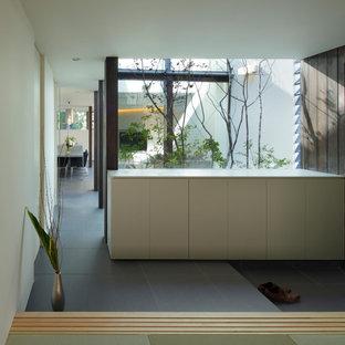 Exempel på en modern hall, med vita väggar, klinkergolv i porslin, en enkeldörr och grått golv