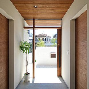 Идея дизайна: узкая прихожая в стиле модернизм с белыми стенами, бетонным полом, раздвижной входной дверью, входной дверью из дерева среднего тона и серым полом