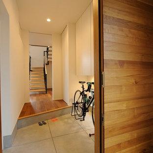 他の地域の中くらいの片開きドアモダンスタイルのおしゃれな玄関ホール (コンクリートの床、グレーの床、白い壁、金属製ドア) の写真