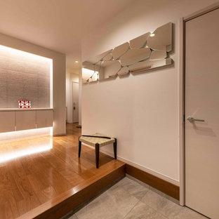 Immagine di un grande corridoio design con pareti bianche, pavimento in compensato, una porta a due ante e pavimento marrone