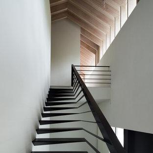 東京都下の巨大な金属製のコンテンポラリースタイルのおしゃれな階段 (金属の手すり) の写真