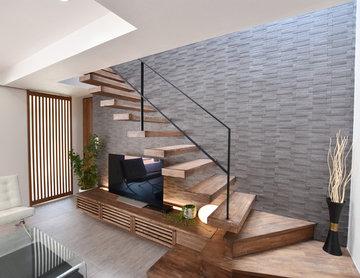 一体型TVボード・階段