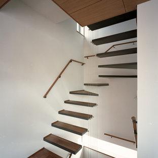 Foto di una scala curva moderna di medie dimensioni con pedata in legno, nessuna alzata e parapetto in cavi