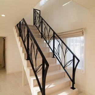 他の地域のトラディショナルスタイルのおしゃれな直階段 (金属の手すり) の写真