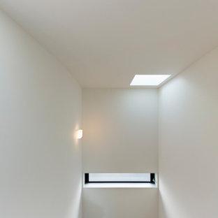 Modelo de escalera curva y papel pintado, minimalista, de tamaño medio, con escalones de madera, contrahuellas de madera, barandilla de madera y papel pintado
