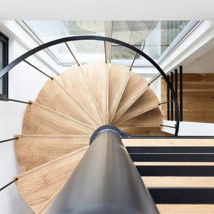 Imagen de escalera de caracol y papel pintado, contemporánea, de tamaño medio, sin contrahuella, con escalones de madera, barandilla de metal y papel pintado