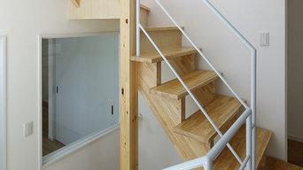 集成材 階段施工例 住宅A