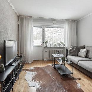 Inspiration för ett mellanstort eklektiskt allrum, med grå väggar, en fristående TV och ljust trägolv