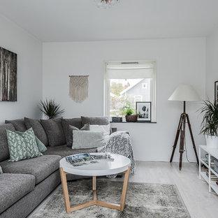 Inspiration för ett litet skandinaviskt avskilt allrum, med vita väggar, ljust trägolv, en väggmonterad TV och grått golv