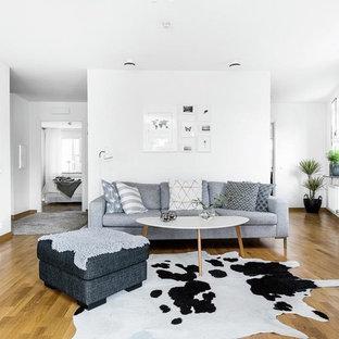 Idéer för ett mellanstort skandinaviskt allrum med öppen planlösning, med vita väggar, mellanmörkt trägolv och en fristående TV