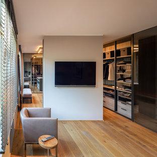 Diseño de armario vestidor contemporáneo, de tamaño medio, con armarios con paneles lisos, suelo de madera pintada y suelo marrón