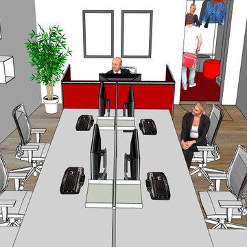 3D Visualisierung 5er Team Büro