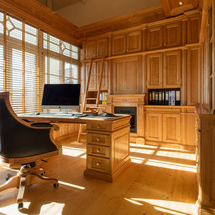 Photo of a medium sized classic home office and library in Other with light hardwood flooring and a metal fireplace surround.