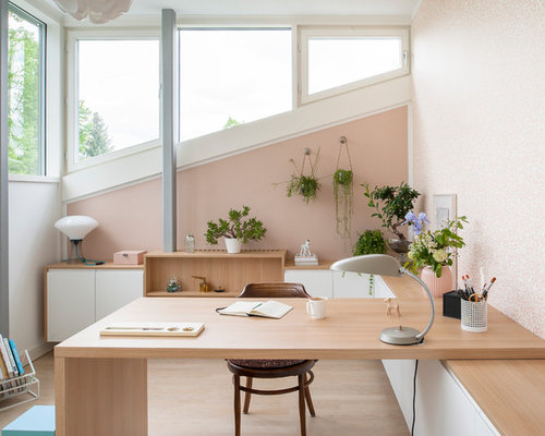 pink home office design idea. Study Room - Mid-sized Contemporary Built-in Desk Light Wood Floor And Beige Pink Home Office Design Idea .