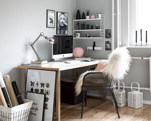 Skandinavische arbeitszimmer mit grauer wandfarbe ideen for Grauer schreibtisch