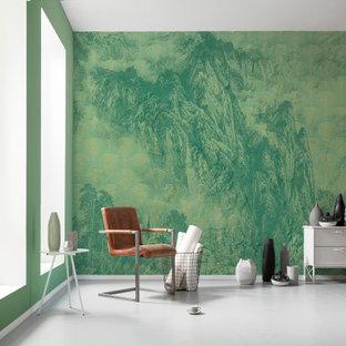 ミュンヘンの大きいエクレクティックスタイルのおしゃれな書斎 (緑の壁、コンクリートの床、白い床) の写真