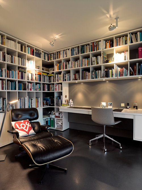 home office library ideas. Home Office Library - Mid-sized Contemporary Built-in Desk Linoleum Floor And Black Ideas