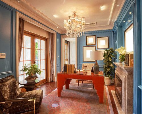 Mittelgro e klassische arbeitszimmer ideen design for Wandfarbe arbeitszimmer