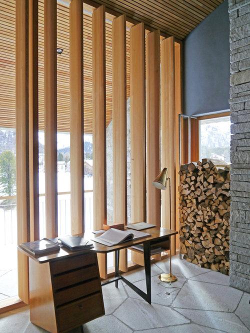 Moderne arbeitszimmer mit schieferboden ideen design for Arbeitszimmer wandfarbe