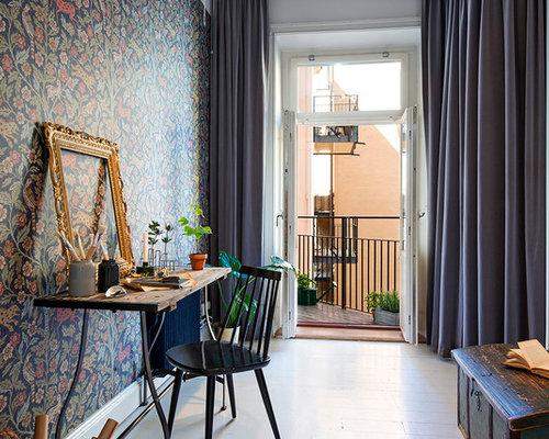 bureau scandinave avec un mur multicolore photos et id es d co de bureaux. Black Bedroom Furniture Sets. Home Design Ideas