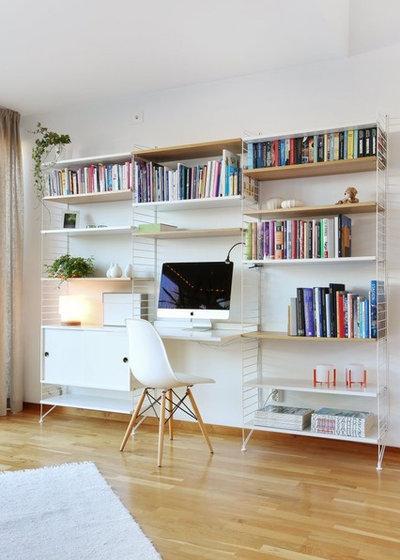 Scandinavian Home Office & Library by Fastighetsbyrån