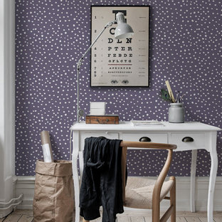 Design ideas for a scandinavian home office in Gothenburg with purple walls.