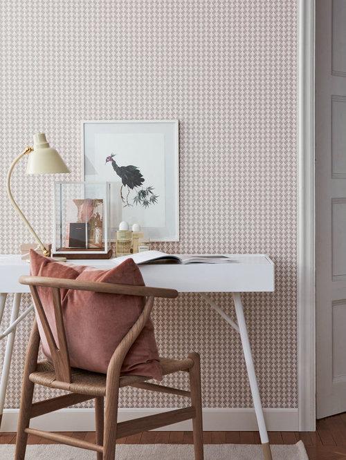 Skandinavische arbeitszimmer mit rosa wandfarbe ideen for Arbeitszimmer wandfarbe