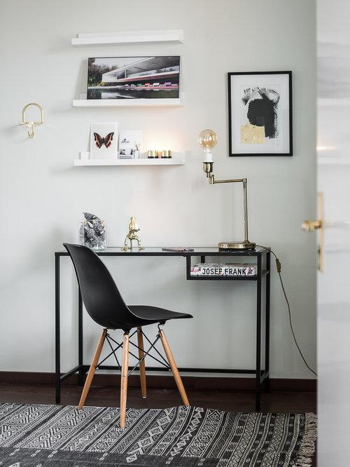 Skandinavische arbeitszimmer mit dunklem holzboden ideen - Arbeitszimmer wandfarbe ...