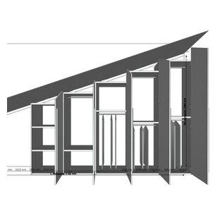 Ispirazione per un piccolo armadio o armadio a muro unisex minimalista con ante lisce, ante grigie, pavimento in gres porcellanato e pavimento multicolore
