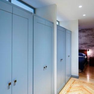 Foto di un grande armadio o armadio a muro unisex design con ante con riquadro incassato, ante blu e parquet chiaro