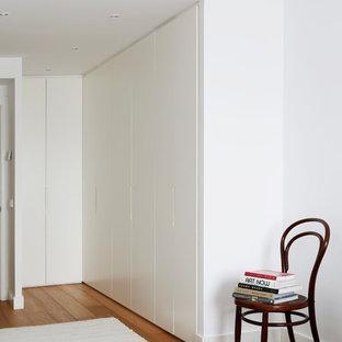 Diseño de armario unisex, escandinavo, de tamaño medio, con armarios con paneles lisos, puertas de armario blancas y suelo de madera en tonos medios