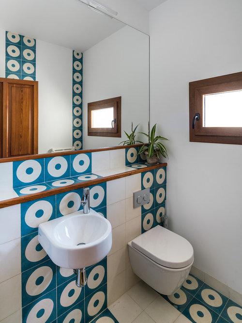 Fotos de ba os dise os de ba os con baldosas y o azulejos azules en madrid - Azulejos azules para bano ...