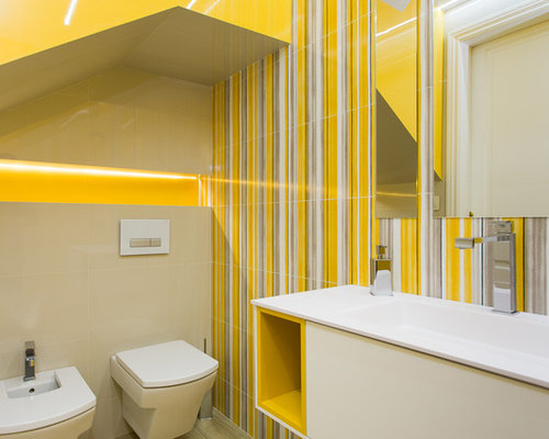 Yellow cloakroom design ideas renovations photos with a - Lautoka urbana ...