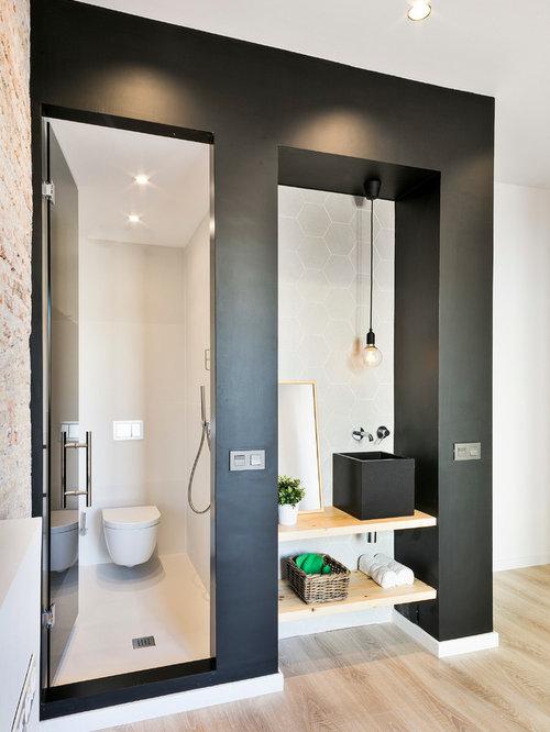 Photos et id es d co de wc et toilettes industriels for Placard wc suspendu