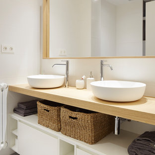 Small industrial cloakroom in Other with open cabinets, white cabinets, grey tiles, porcelain tiles, grey walls, slate flooring, quartz worktops and grey floors.