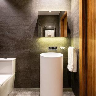 Ejemplo de aseo contemporáneo con paredes grises, lavabo con pedestal y suelo gris
