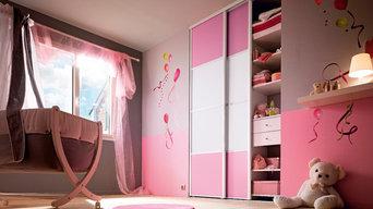 Portes de placard enfant rose et verre laqué aluminium SIFISA