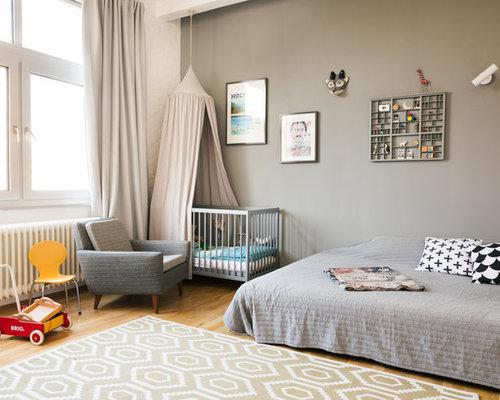 Kinderzimmer wandfarbe  Moderne Babyzimmer mit grauer Wandfarbe Ideen, Design & Bilder | Houzz