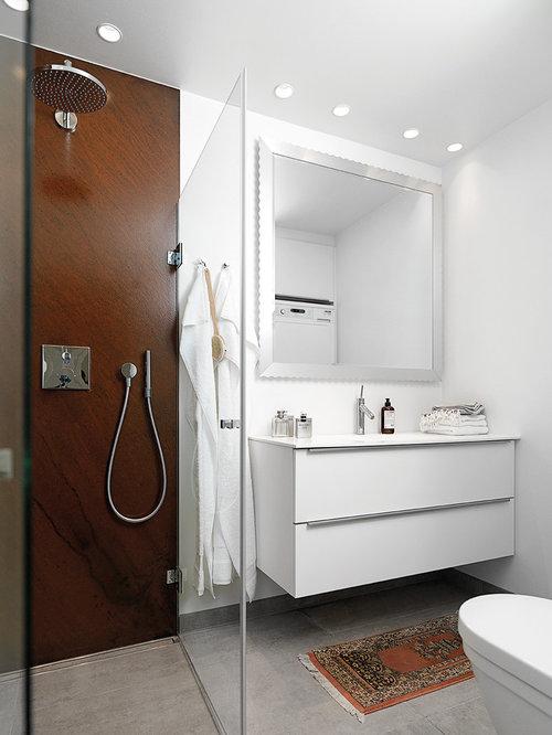 badezimmer mit laminat waschtisch und steinplatten design ideen beispiele f r die badgestaltung. Black Bedroom Furniture Sets. Home Design Ideas