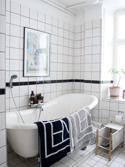 Salle de bain romantique avec un sol en carrelage de porcelaine photos et id es d co de salles - Carrelage salle de bain romantique ...