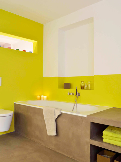 Bathroom design ideas renovations photos with brown for Brown and yellow walls