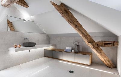 zementfliesen fabrikfenster bad im modernen mediterranen stil. Black Bedroom Furniture Sets. Home Design Ideas