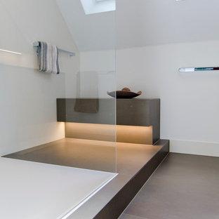 Immagine di una piccola stanza da bagno con doccia minimalista con ante lisce, ante grigie, doccia a filo pavimento, WC a due pezzi, piastrelle multicolore, piastrelle in ceramica, pareti grigie, pavimento con piastrelle in ceramica, lavabo integrato e top in acciaio inossidabile