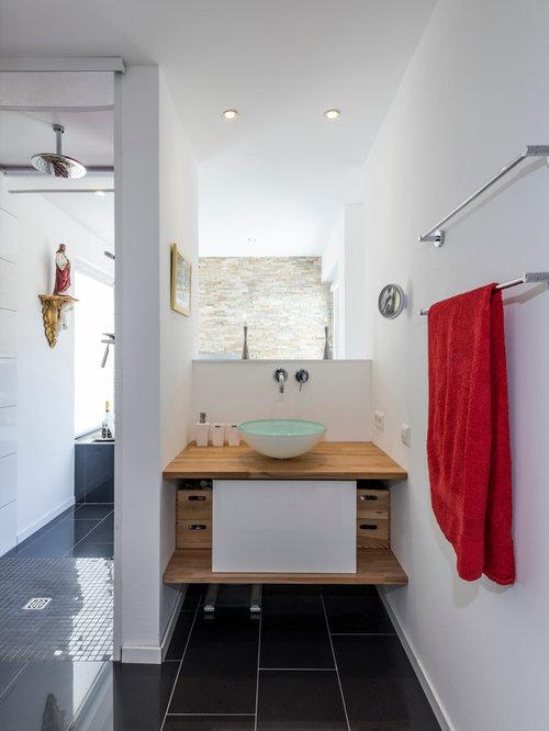 Badezimmer mit schwarz-weißen Fliesen Ideen, Design & Bilder | Houzz
