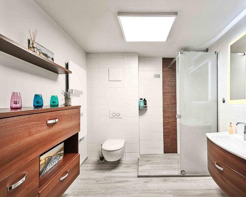 Badezimmer mit weißen Fliesen - Design-Ideen & Beispiele für die ...