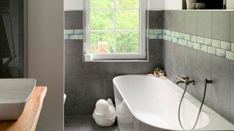 Bad Sanierung - aus einem Bad mit Ankleidezimmer wird ein Familienbad