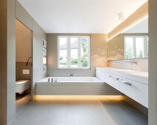 badezimmer mit badewanne in nische - design-ideen & beispiele für ... - Moderne Badewanne Eingemauert