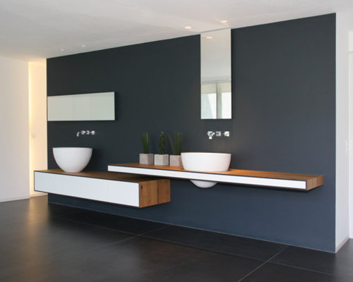 salle de bain moderne avec un sol en ardoise photos et id es d co de salles de bain. Black Bedroom Furniture Sets. Home Design Ideas